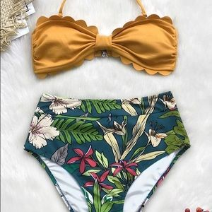 Brand New Tropical Print High Waist Bikini (L & M)